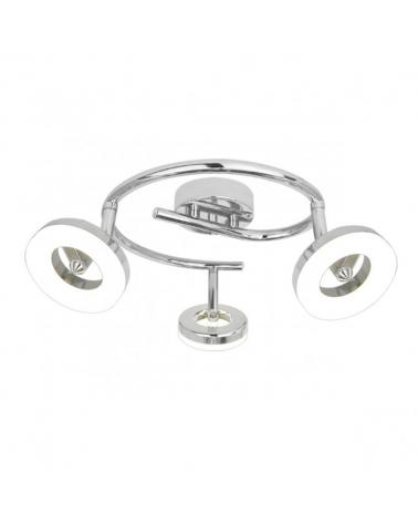 Regleta 3 luces con círculo LED circular acabado cromado 40cm 5w 3000k 1200Lm