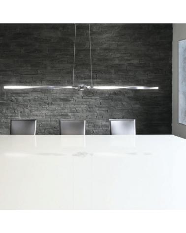 Lámpara de techo 133 cm. cromo ondas horizontal  rizada LED retroiluminada 26W  4000K 2340Lm