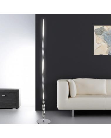 Lámpara de pie 175 cm. cromo ondas vertical rizada LED 26W 2340Lm 4000K retroiluminada regulable