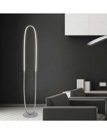 Lámpara de pie 162 cm. Óvalo inclinado LED 36W 4000K 3240Lm retroiluminada regulable