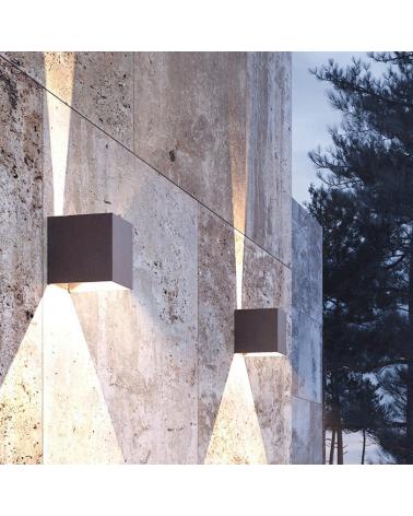 Aplique pared marron oxido de exterior 10cm Luz superior e inferior LED 6,8W Aluminio 3000k. 530 Lm.