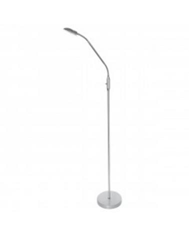 Lámpara de pie 165 cm. Con foco orientable acabado en Plata LED 5W 4000K  500LM