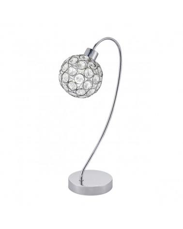 Lámpara de sobremesa color cromo difusor imitación diamante con marcos metálicos 40W G9