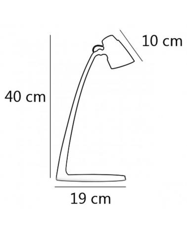 Flexo sobremesa 40cm en acrílico acabado blanco y Plata led 6W  4000K 600Lm