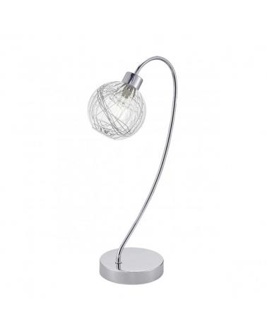 Lámpara de sobremesa foco entrelazado acabado cromo con tulipa de cristal con decoración lineal interior 1 X 40W G-9