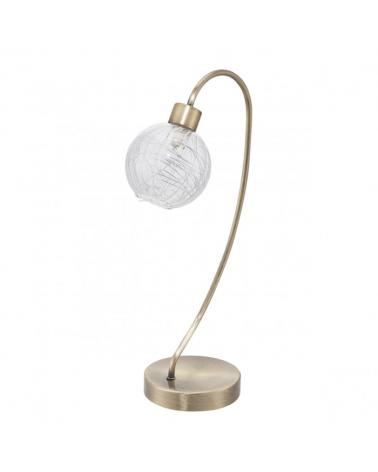 Lámpara de sobremesa foco entrelazado acabado cuero con tulipa de cristal con decoración lineal interior 1 X 40W G-9