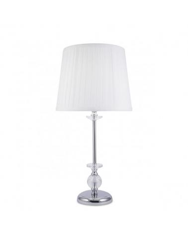 Lámpara de mesa de 51cm con nudos y cristal acabado cuero y pantalla de tela blanca plisada  1 X 60W E-27