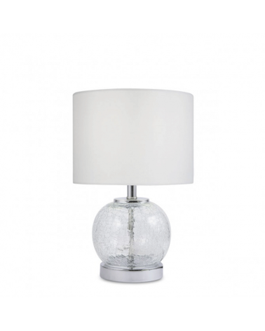 Lámpara de mesa de 32m con cuerpo cristal craquelado acabado en cuero pantalla de tela blanca 1 X 60W E-27