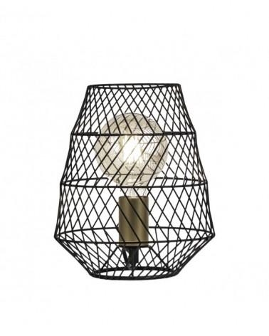 Lámpara de mesa de 25cm forma cesta metal negro y portalámparas en cuero 1 X 60W E-27