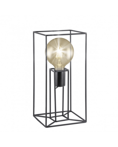 Lámpara de mesa 35cm soporte estructura metal cubico en metal negro 1 X 60W E-27