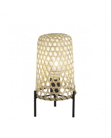 Lámpara de mesa 32cm base metal y pantalla de bambú 1 X 60W E-27