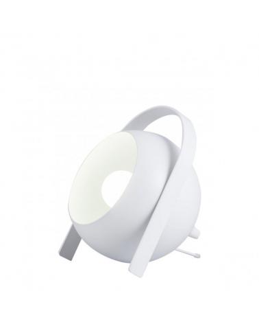 Lámpara de mesa 19cm  acabado blanco en metal con pantalla esférica abatible 1 X 60W E-27