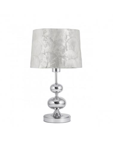 Lámpara de sobremesa 25cm con pantalla nácar cuerpo cromado E27
