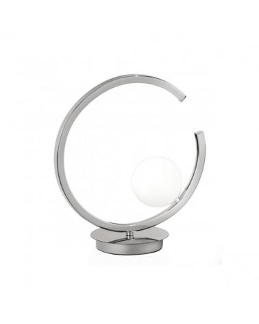 Lámpara sobremesa 30cm círculo metal cromado con difusor esférico en cristal blanco mate G9