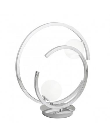 Lámpara sobremesa 40cm doble círculo metal cromado con difusores esféricos en cristal blanco mate G9