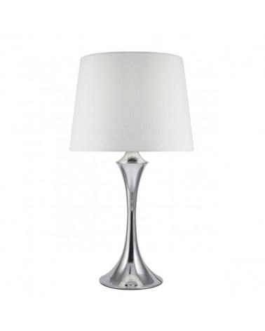 Lámpara de sobremesa 51cm pantalla blanca cuerpo metal acabado cromado E27