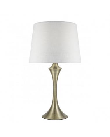 Lámpara de sobremesa 51cm pantalla blanca cuerpo metal acabado cuero E27