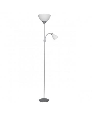 Lámpara de pie color Plata 180cm con pantalla acrílico 1 X 60W E-27  y luz de lectura 1 X 40W E14