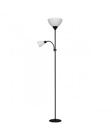 Lámpara de pie color negro 180cm con pantalla acrílico 1 X 60W E-27  y luz de lectura 1 X 40W E14