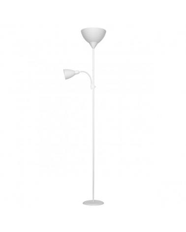 Lámpara de pie color blanco 180cm con pantalla acrílico 1 X 60W E-27  y luz de lectura 1 X 40W E14