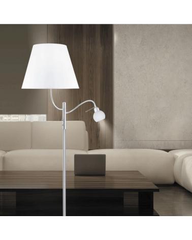 Lámpara de pie en metal 171cm color cromo con pantalla blanca 1 X 60W E-27  y luz de lectura 1 X 40W G9