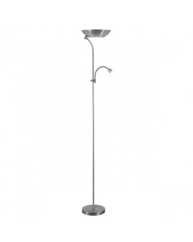 Lámpara de pie 180cm. en color níquel satinado luz superior forma de plato 1 X 40W E-14 + 2 X 60W E-27