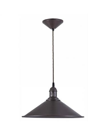 Lámpara de techo con pantalla metal acabado negro cable negro trenzado E27