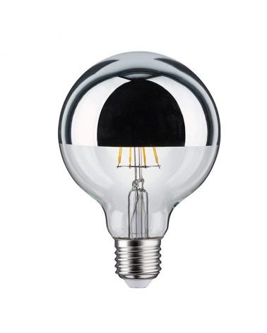 Bombilla Globo 95 mm. Cúpula Espejo Plata filamentos LED  E27 5W 2700K 420Lm.