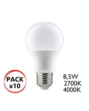 Pack 10 bombillas Estándar LED 8,5W E27 A+