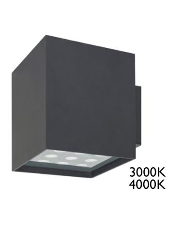 Aplique cuadrado LED 22W muy luminoso IP65 acabado gris
