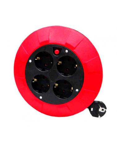 Enrollacables doméstico de 5m con protector térmico 3x1mm2 y 4 tomas T/TL