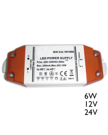 Driver LED 15W 12V ó 24V para conexión de leds en paralelo