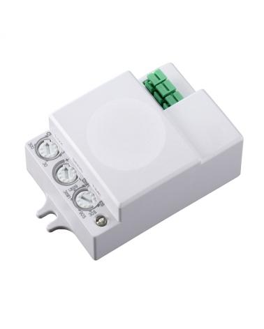 Sensor de presencia para instalación en superficie o escondido en el falso techo que funciona por microondas