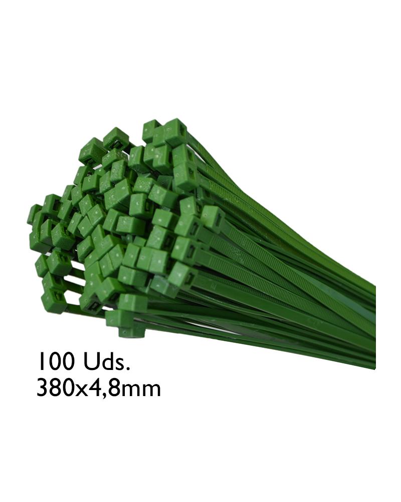 Bolsa de 100 bridas verdes 380x4,8mm.