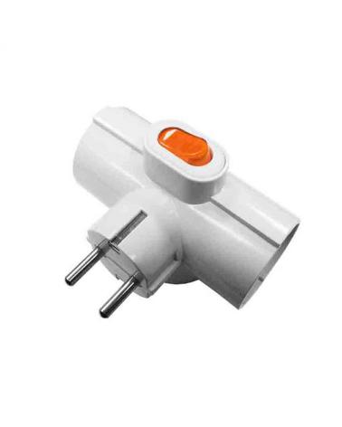Clavija triple 3 tomas T/TL con interruptor 16A 250V