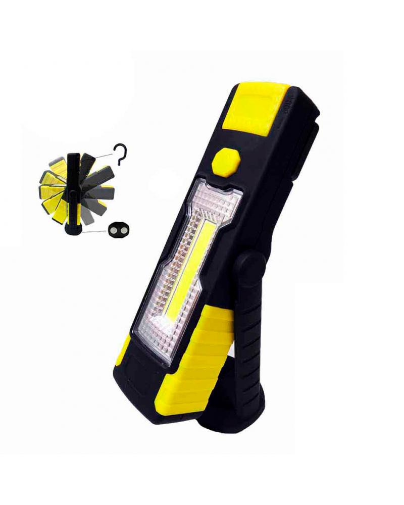 Linterna LED COB XL doble función con gancho e imán y cabezal giratorio. Pilas incluidas