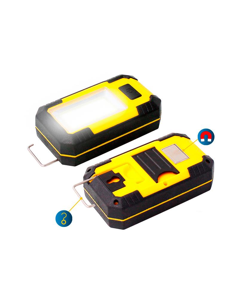 Linterna LED COB 8W 500 Lm con gancho e imán, cargador USB y  y pilas recargables