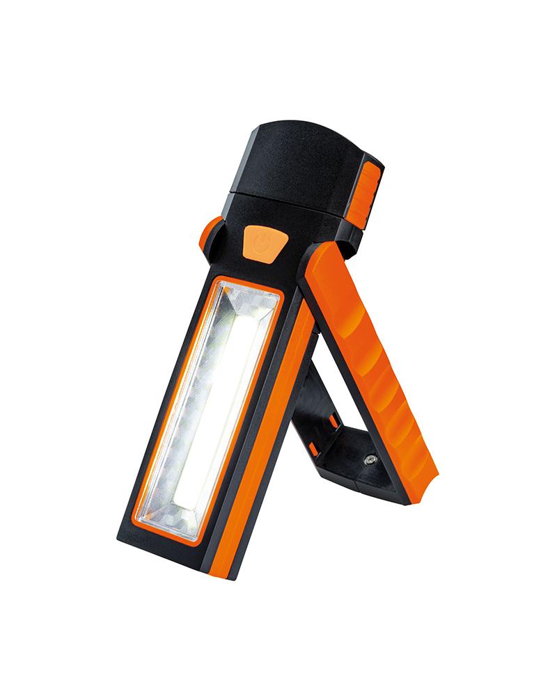 Linterna LED COB 2,7W 150Lm con soporte, aro e imán 4 AAA