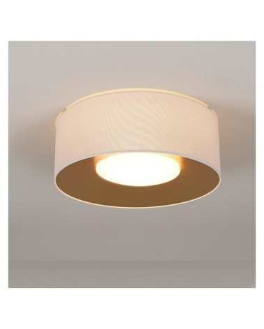 Plafón de diseño PVC y poliéster 50cm blanco interior Dorado con difusor cristal opal E28