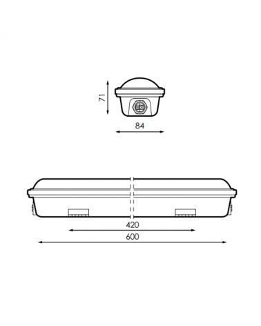 medidas-Luminaria estanca LED 18W 600mm IP65 de superficie