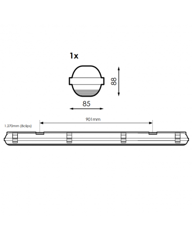 medidas-Regleta estanca ECO LED IP65 1x1200mm para 1 tubo led G13 T8