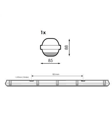 medidas-Regleta estanca ECO LED IP65 1x1500mm para 1 tubo led G13 T8