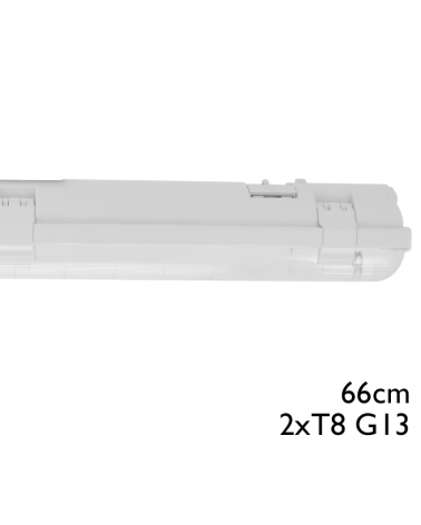 Regleta estanca ECO LED IP65 2x600mm para 2 tubos led G13 T8