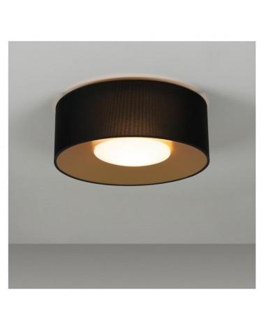 Plafón de diseño PVC y poliéster 50cm negro interior Dorado con difusor cristal opal E27