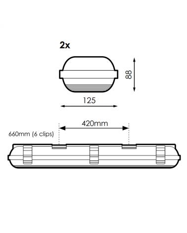 medidas-Regleta estanca ECO LED IP65 2x600mm para 2 tubos led G13 T8