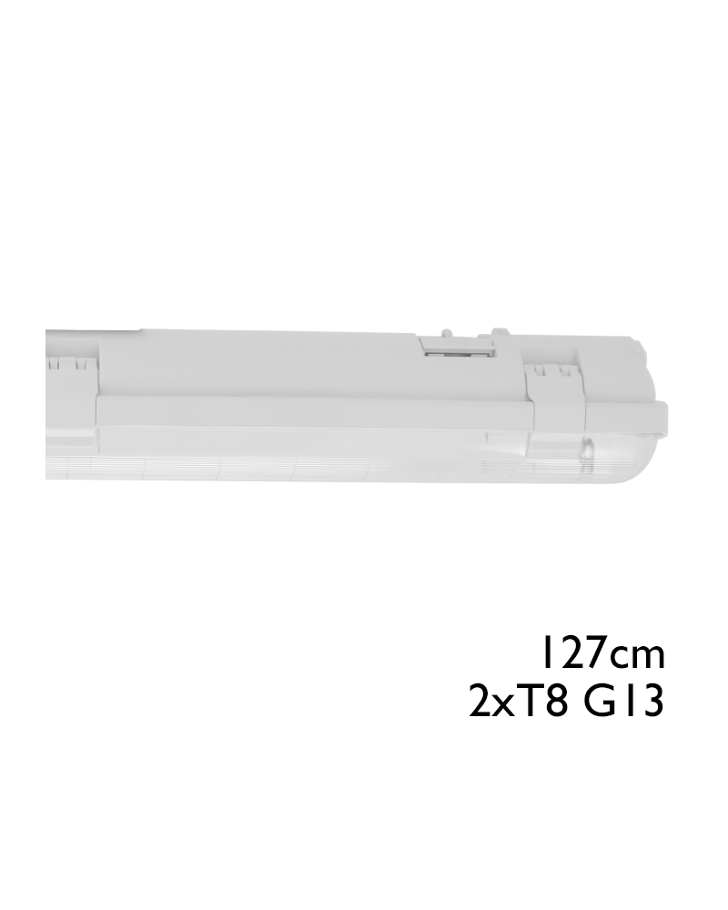 Regleta estanca ECO LED IP65 2x1200mm para 2 tubos led G13 T8