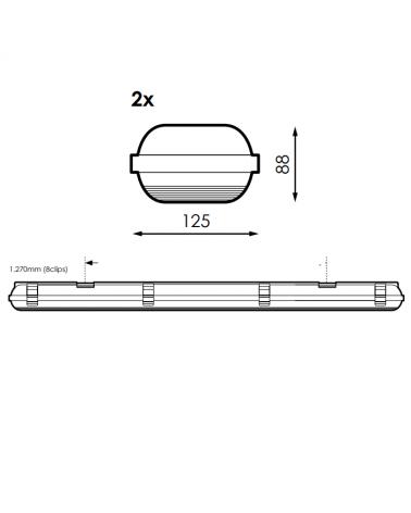 medidas-Regleta estanca ECO LED IP65 2x1200mm para 2 tubos led G13 T8