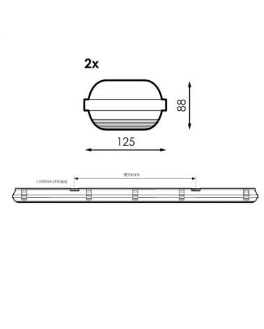 medidas-Regleta estanca ECO LED IP65 2x1500mm para 2 tubos led G13 T8