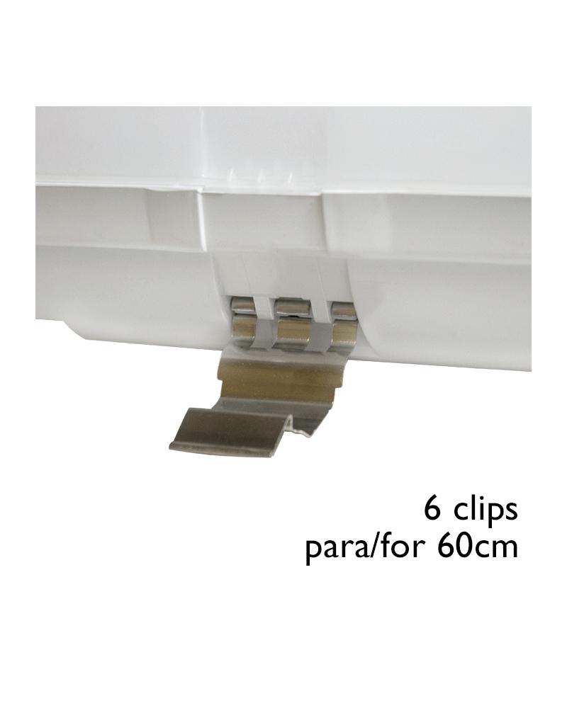Juego 6 Clips acero INOX de recambio para regleta estanca LED ECO T8 600mm.