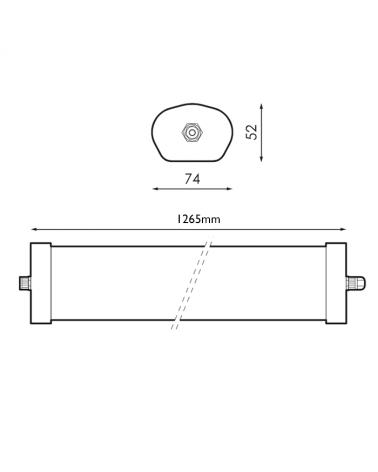 medidas-Regleta estanca 2X20W 230V IP65